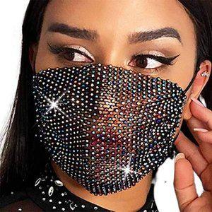 Rhinestone Mesh Face Cover